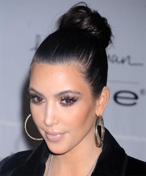 Kim Kardashian Formal Long Straight Updo Hairstyle Black