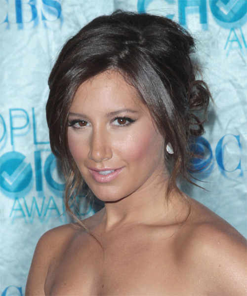 Ashley Tisdale Casual Long Straight Updo Hairstyle Dark
