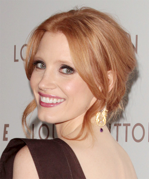 Jessica Chastain Formal Long Curly Updo Hairstyle Orange
