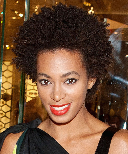 Solange Knowles Short Curly Casual Afro Hairstyle Dark