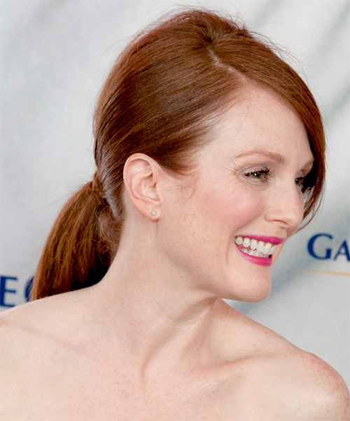 Julianne Moore Long Straight Formal Updo Hairstyle With