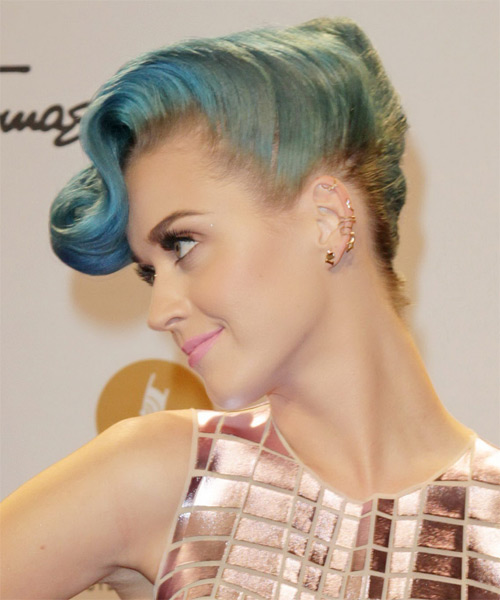 Katy Perry Medium Curly Formal Emo Updo Hairstyle Blue