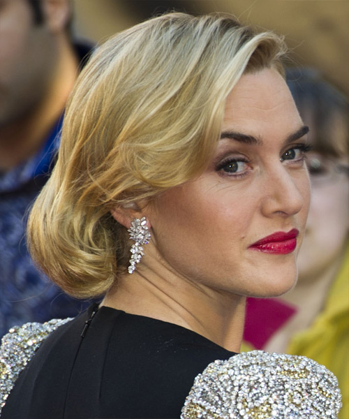 Kate Winslet Formal Medium Curly Updo Hairstyle Golden