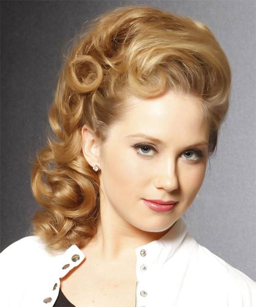 Long Curly Formal Updo Hairstyle Honey Blonde Hair Color