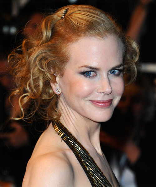 Nicole Kidman Long Curly Formal Updo Hairstyle Golden