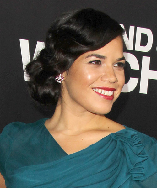 America Ferrera Long Curly Formal Updo Hairstyle Black