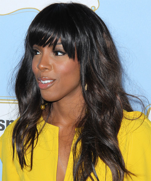 Kelly Rowland Long Wavy Casual Hairstyle With Blunt Cut