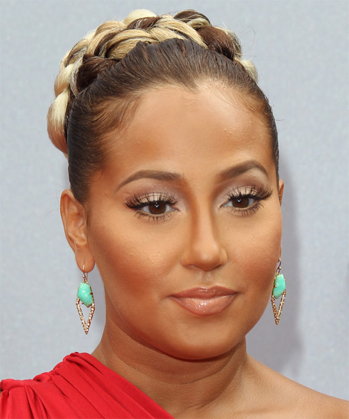 Adrienne Bailon Long Straight Formal Updo Hairstyle