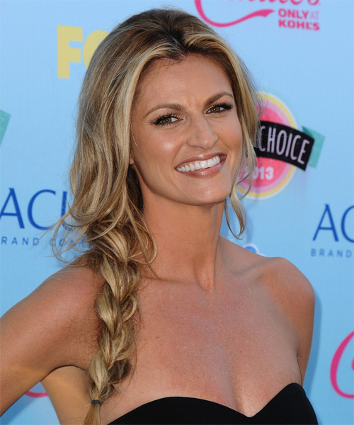 Erin Andrews Long Curly Casual Half Up Hairstyle