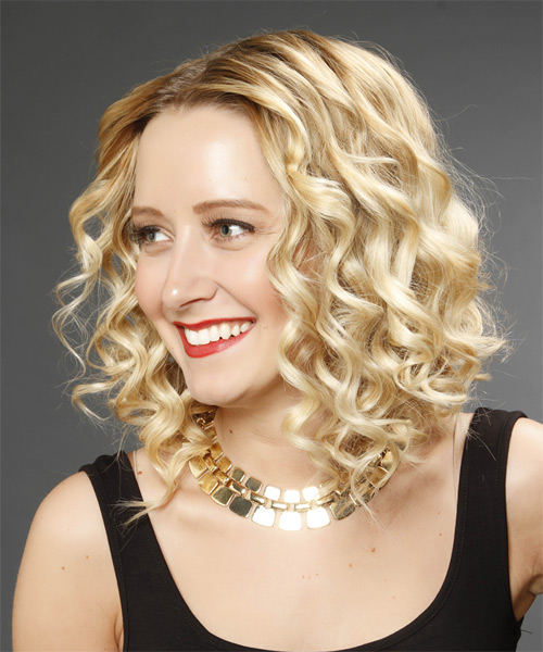 Medium Curly Formal Hairstyle Golden Blonde Hair Color
