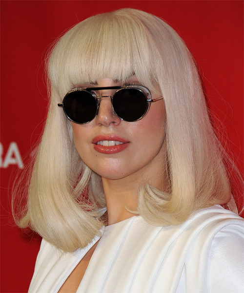 Lady GaGa Medium Straight Casual Hairstyle With Blunt Cut