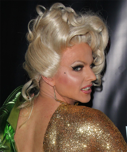 Courtney Act Formal Long Curly Updo Hairstyle Light