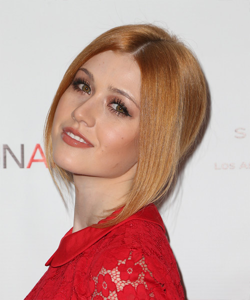 Katherine McNamara Long Straight Formal Updo Hairstyle