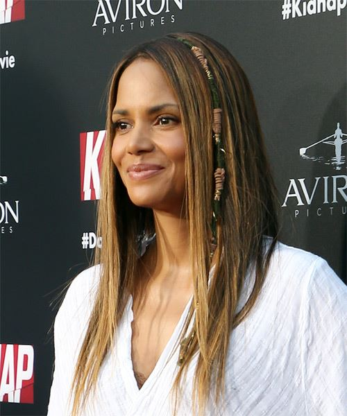 Halle Berry Long Straight Casual Hairstyle Brunette Hair