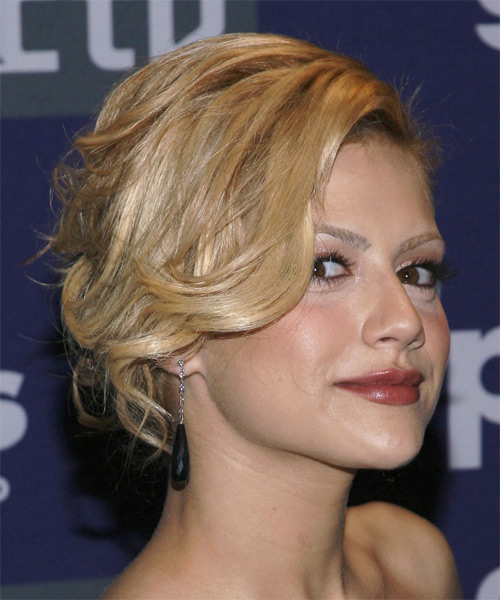 Brittany Murphy Medium Curly Formal Updo Hairstyle
