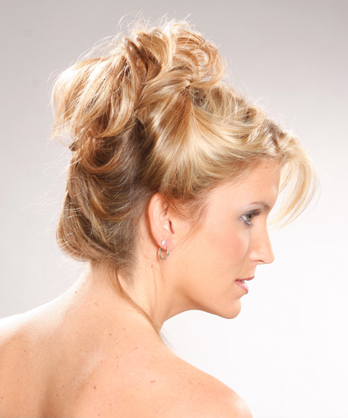 Updo Long Curly Casual Updo Hairstyle Light Blonde Golden