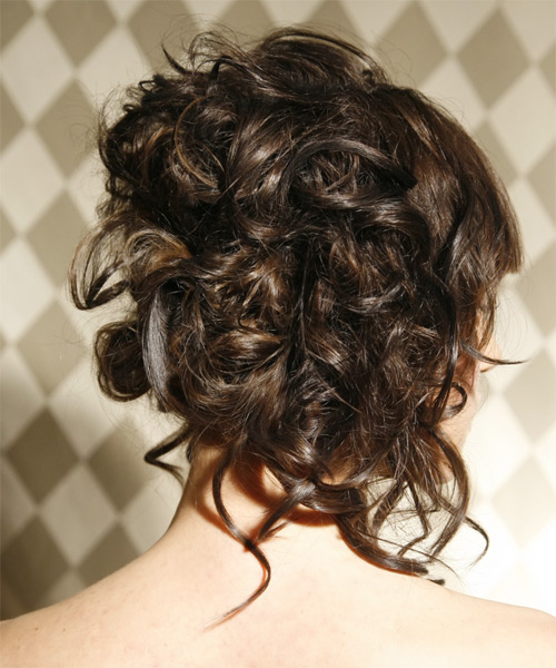 Long Curly Formal Updo Hairstyle Dark Brunette Hair Color