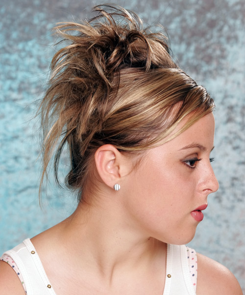 Long Straight Formal Updo Hairstyle With Side Swept Bangs