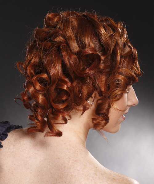 Formal Long Curly Updo Hairstyle Burgundy Red Hair Color