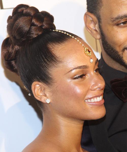 Alicia Keys Formal Long Curly Updo Hairstyle Dark