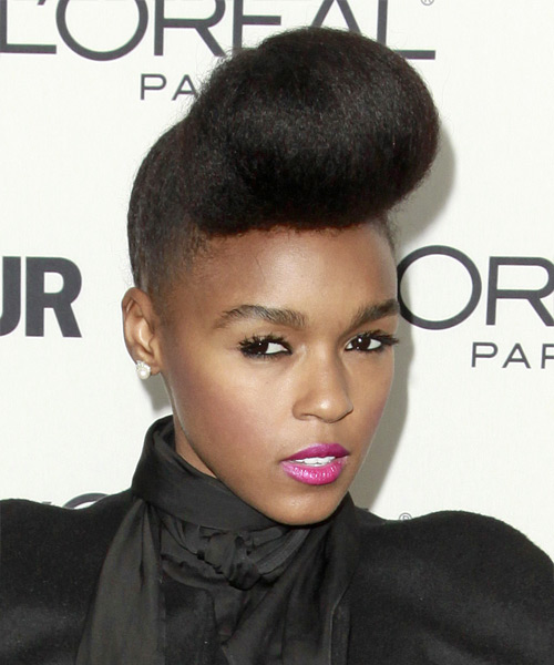 Janelle Monae Long Straight Formal Updo Hairstyle Black