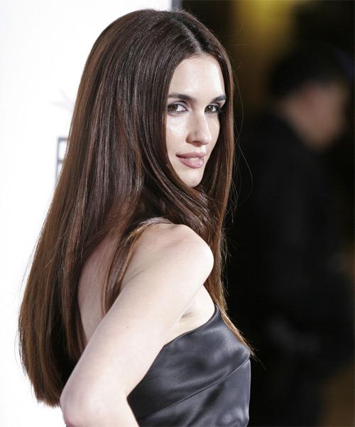 Paz Vega Formal Long Straight Hairstyle Chocolate Hair Color
