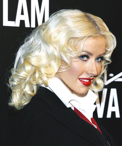 Christina Aguilera Long Wavy Formal Hairstyle
