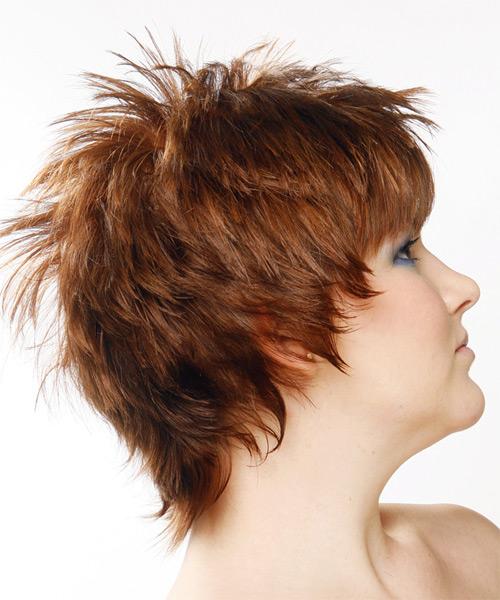 Short Straight Alternative Hairstyle Auburn Hair Color