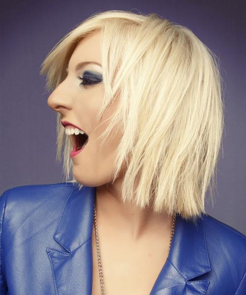 Medium Straight Casual Hairstyle Light Platinum Blonde