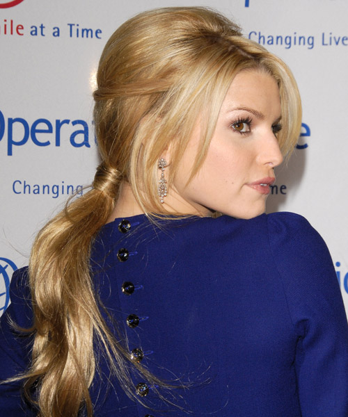 Jessica Simpson Long Straight Formal Updo Hairstyle Dark