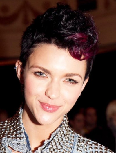 Short Colored Fauxhawk Hairstyle  for women
