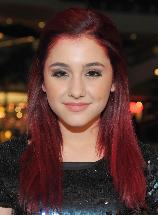 Ariana Grande Red Half Up Half Down Hairstyle for Long Straight Hair
