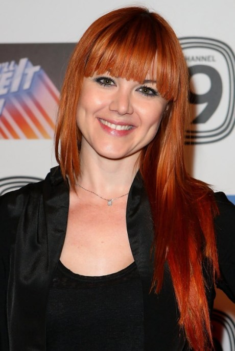 2013 Asymmetric Long Red Hairstyle with Blunt Bangs