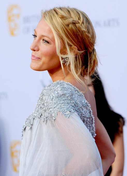 Blake Lively Braided Loose Bun Updo