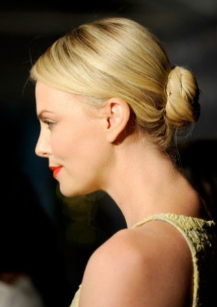 Charlize Theron Sleek low Bun Updo for Long Hair 2013