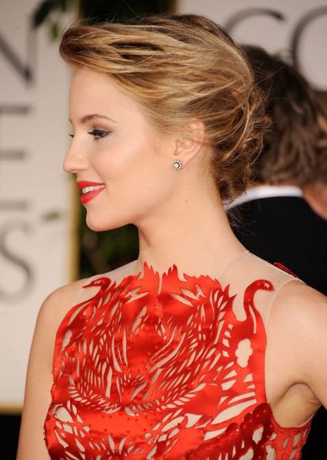 Dianna Agron Bobby Pinned Messy Updo Hairstyles Weekly