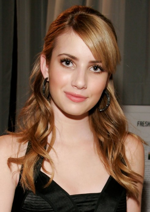 Emma Roberts Half Up Half Down Hairstyle with Side Swept Bangs