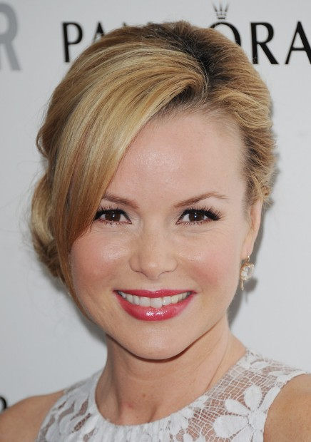 Amanda Holden French Twist Updo with Side Swept Bangs