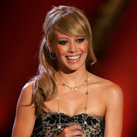 Hilary Duff Low Loose Ponytail with Side Swept Bangs