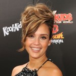 Jessica Alba Sophisticated Updo Hairstyle with Bangs