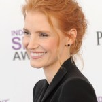 Jessica Chastain Red Casual Loose Curly Low Bun Updo