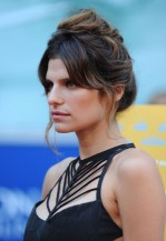 Lake Bell Casual Messy Updo Hairstyle for Curly Hair
