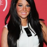 Layered Long Black Hairstyle with Side Swept Bangs