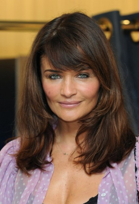 Helena Christensen Long Brown Straight Hairstyle with Bangs