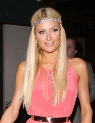 Paris Hilton Long Hairstyle with Sparkly Headband