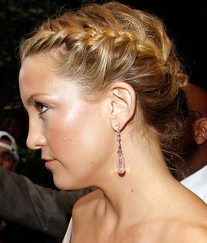 Loose French Braided Updo Hairstyle - Beautiful Updo !