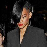 Rihanna Black Bun with Long Bangs