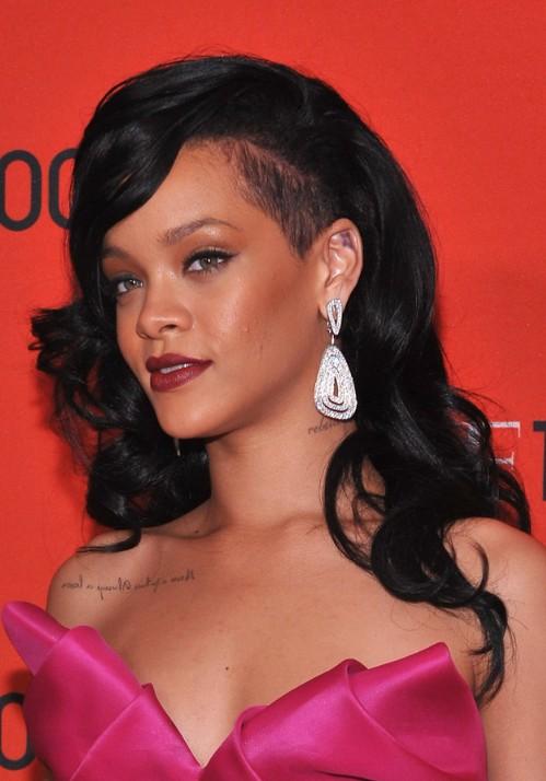 Rihanna Long Black Curly Hairstyle 2012 - 2013