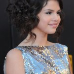 Selena Gomez Latest Bobby Pinned Curly Updo Hairstyles for Girls