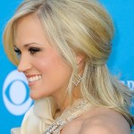 Side view of Carrie Underwood Half Up Half Down Hairdo